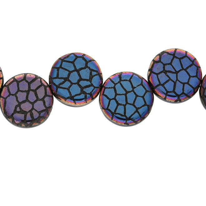 Coin 14 mm Glasperle  – Jet Laser Sliperit Cracked
