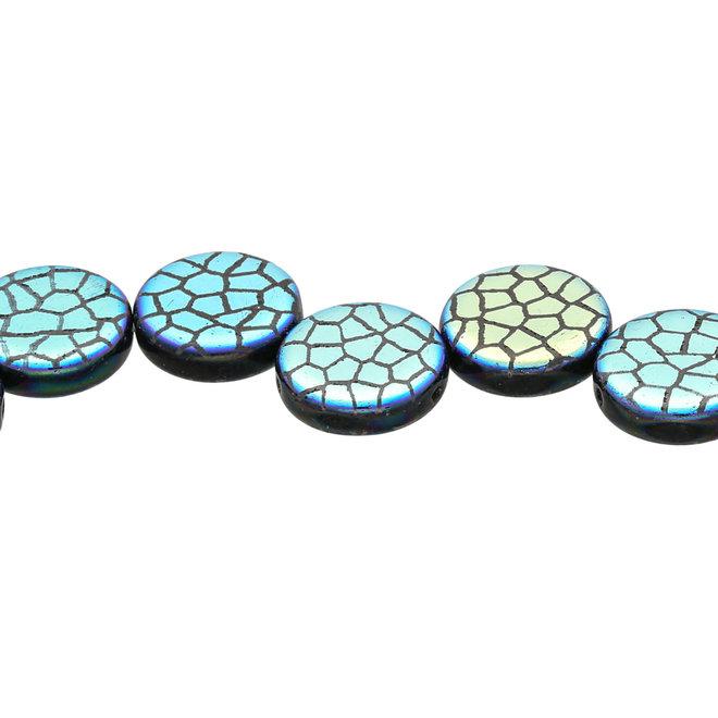 Coin 14 mm Glasperle  – Jet Laser Cracked