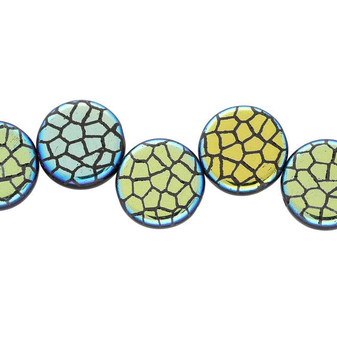 Coin 14 mm perle en verre – Jet Laser Cracked