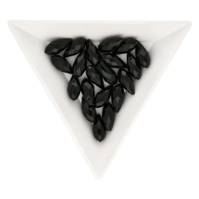 Briolette Glasperlen mit seitlichem Loch - Black