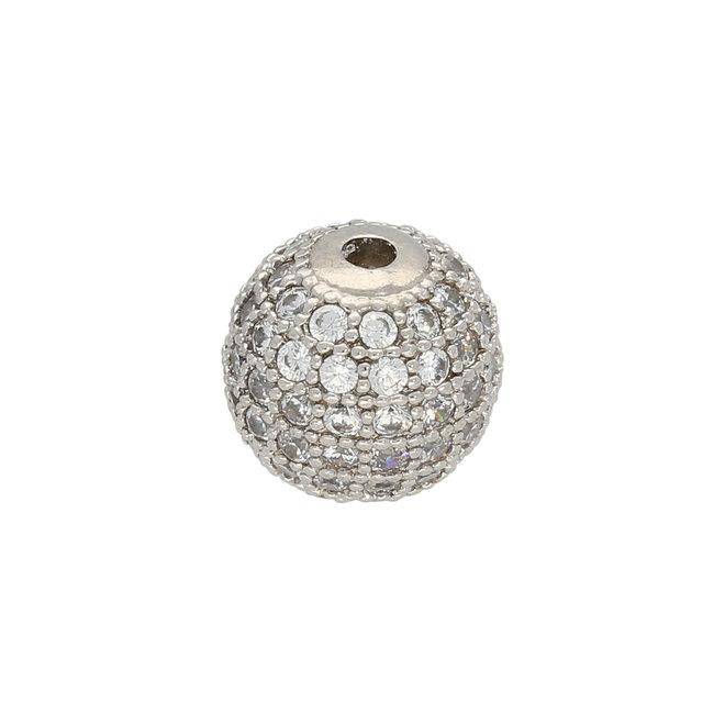 Perle Cubic Zirconia micro pavé - 10 mm - Kristall-Platin