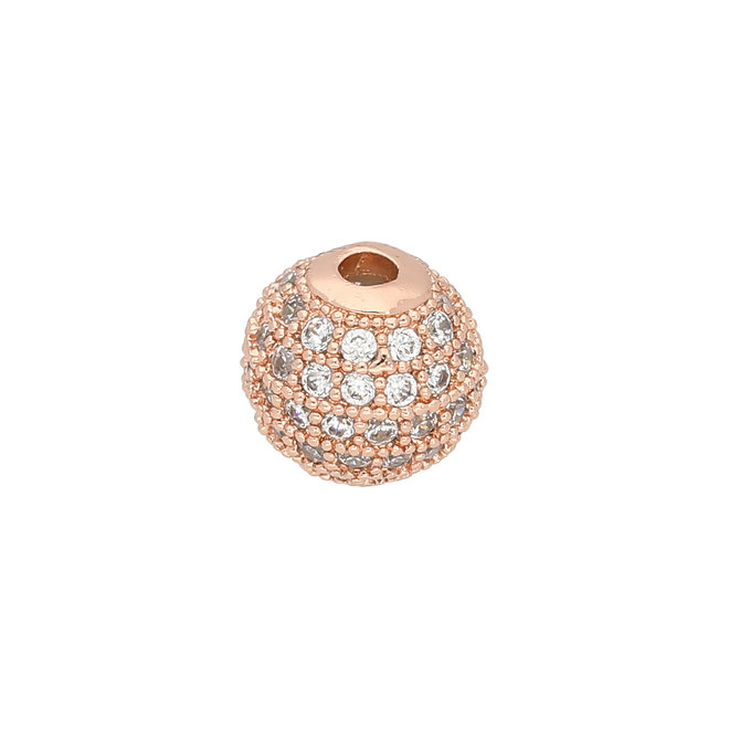 Perle Cubic Zirconia micro pavé - 8 mm - Kristall-Rotgold