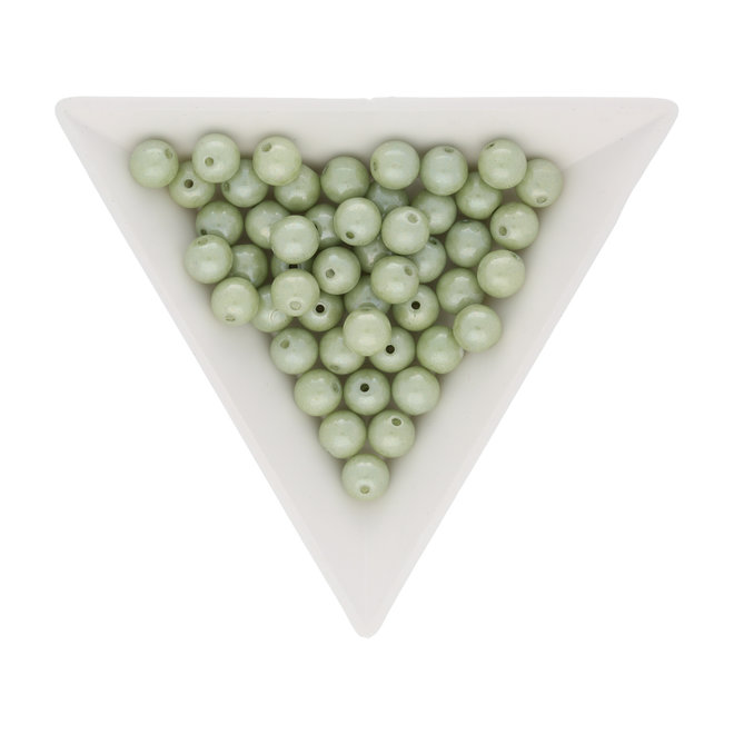 Perle tonde in vetro 6 mm - Lustered Chalk White Mint Luster