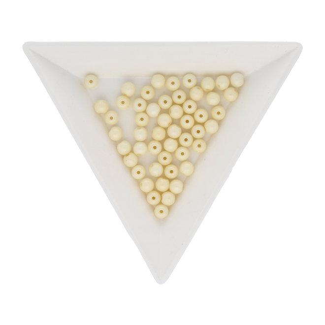 Runde Glasperlen 4 mm - Chalk White Cream Luster