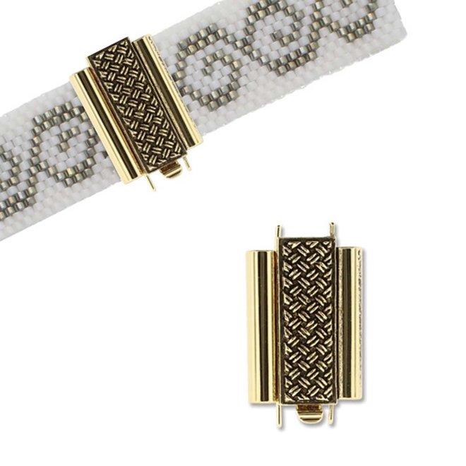 Schmuckverschluss Beadslide Cross Hatch - vergoldet