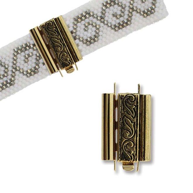 Chiusura gioiello Beadslide Swirl Design 10x18 mm - placcata oro