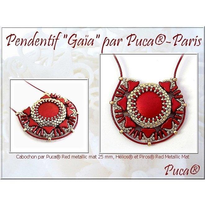 Cabochon par Puca® - 18 mm - Red Metallic Mat