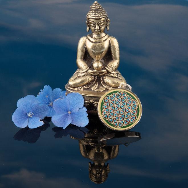 Anhänger Blume des Lebens, Silber mit Malachit