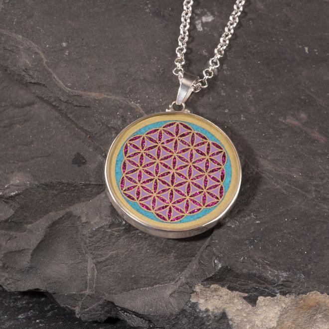 Anhänger Blume des Lebens, Silber mit Türkis