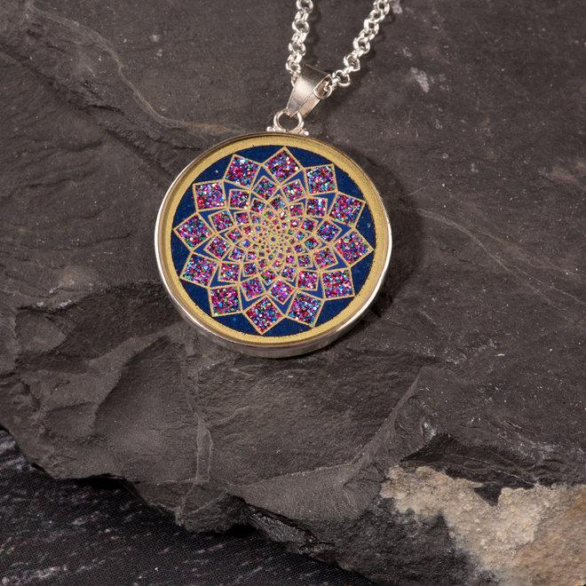 Anhänger Lotus Blume, Silber mit Lapislazuli