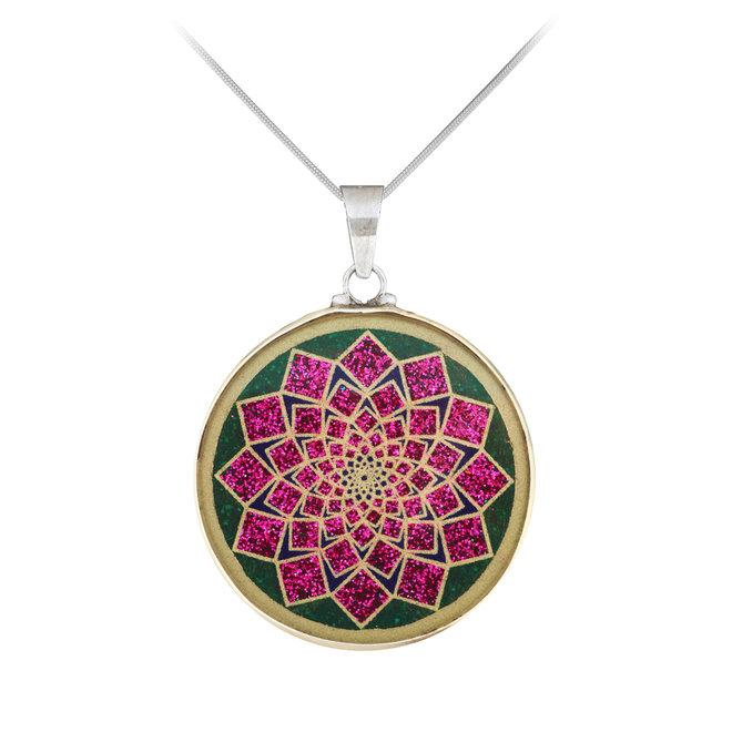 Anhänger Lotus Blume, Silber mit Malachit