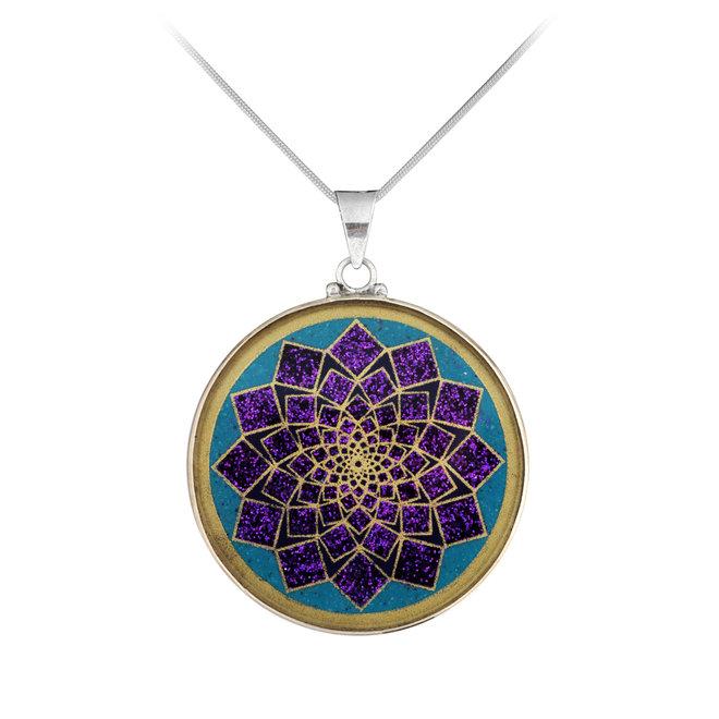 Anhänger Lotus Blume, Silber mit Türkis