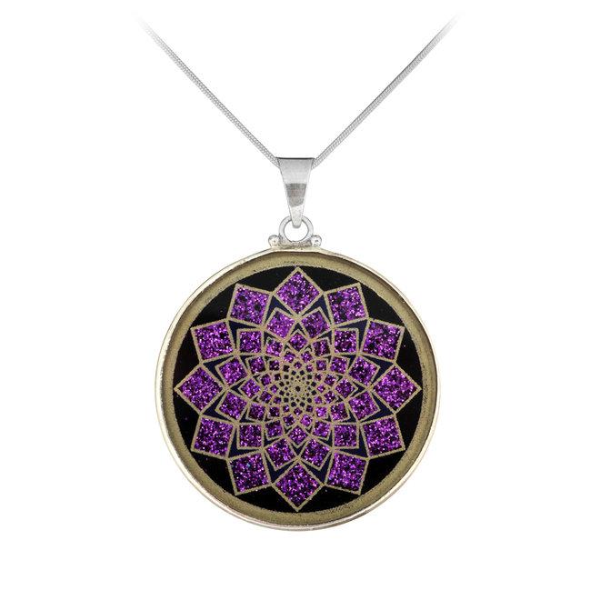 Anhänger Lotus Blume, Silber mit Turmalin