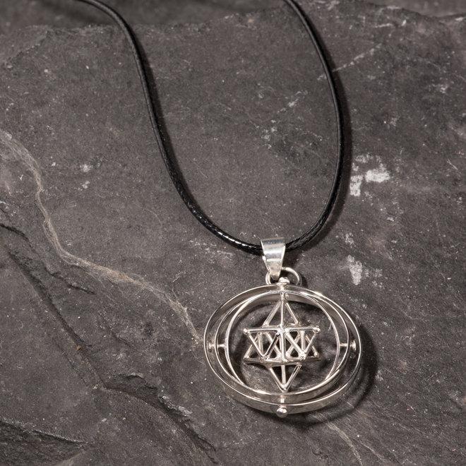 Dreidimensionaler Anhänger, Merkaba, dreifacher Kreis, Silber