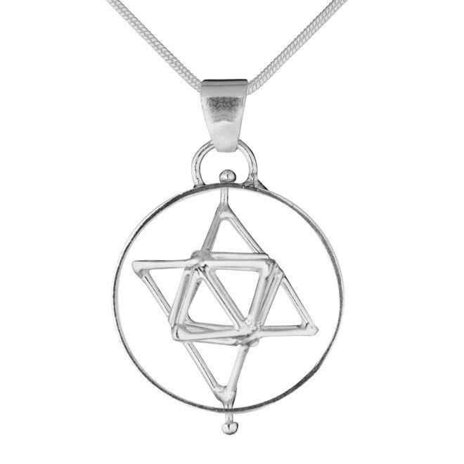 Dreidimensionaler Anhänger, Merkaba, einfacher Kreis, Silber