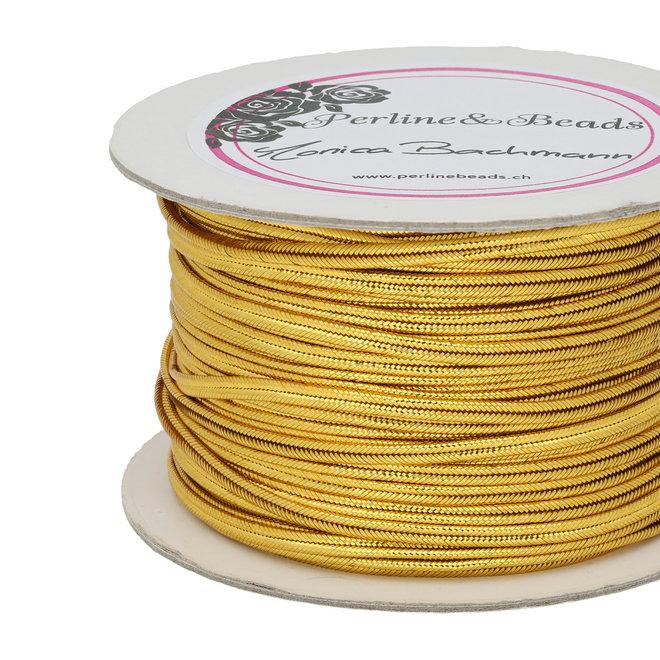 Cordon plat chinois pour Soutache, env. 3 mm – Metallic Gold