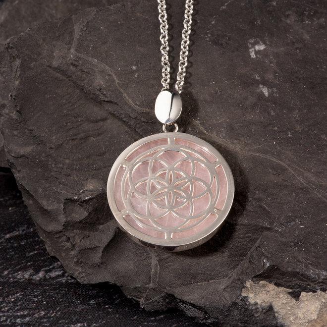 Anhänger Samen des Lebens, Silber und Rosenquarz