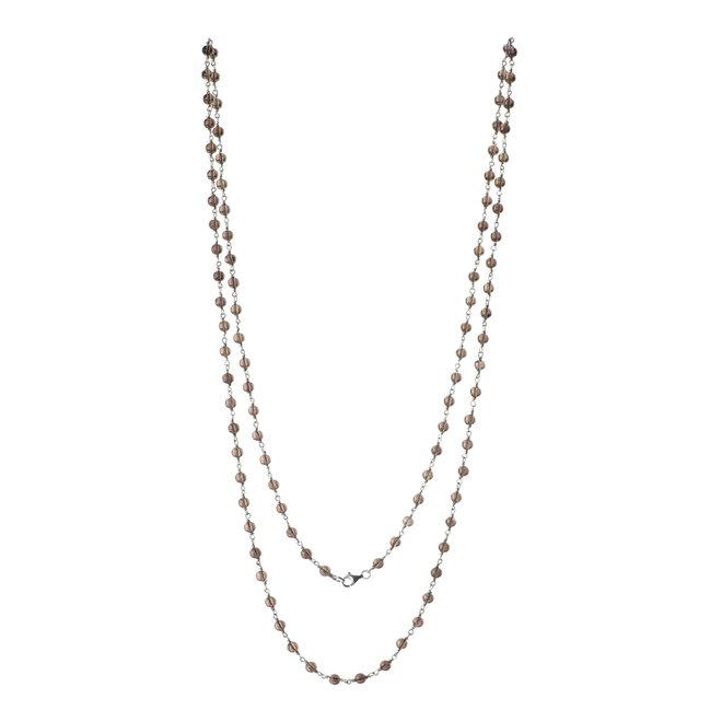 Collana lunga in argento e perle di quarzo affumicato