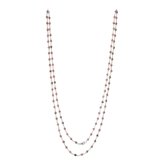 Lange Halskette, Silber mit Rhodochrosite Perlen