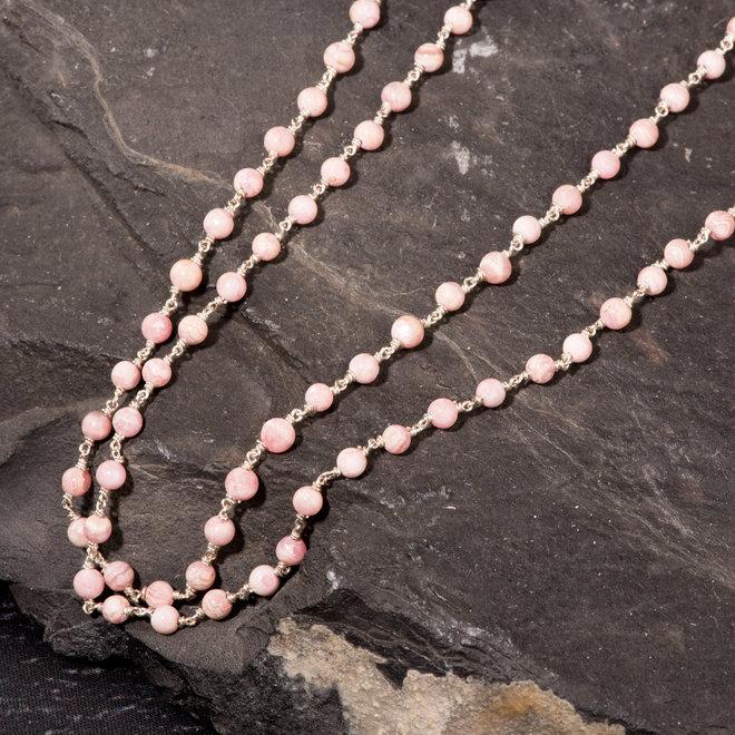 Collana lunga in argento e perle di rodocrosite