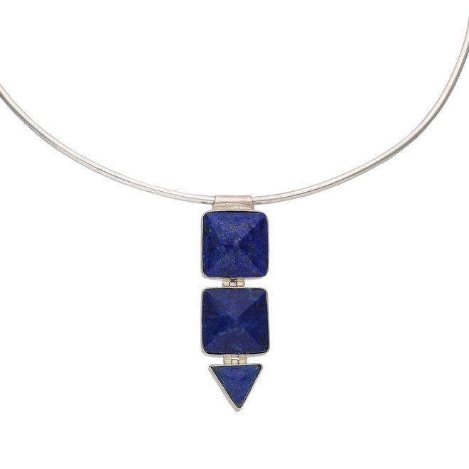 Collier Cleopatra plaqué argent avec pierre lapis-lazuli