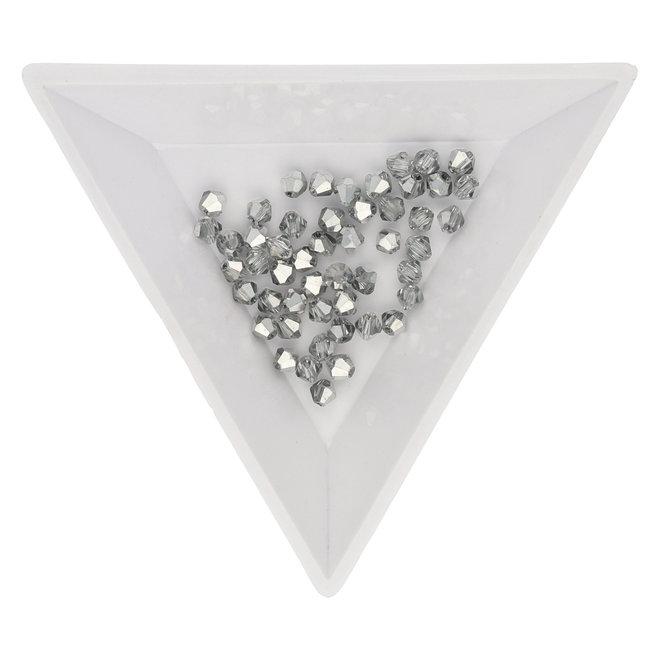 Bicône 3 mm – en verre - Crystal-Platinum