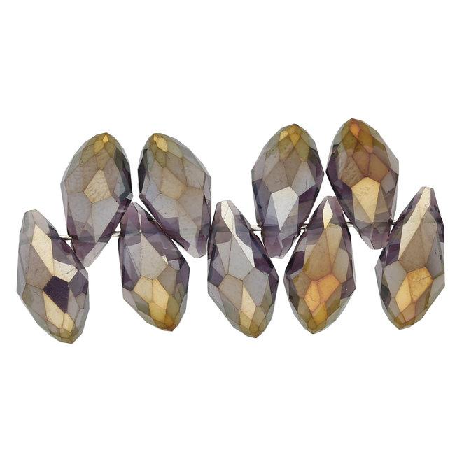 Briolettes in vetro con foro laterale 12x6 mm - Amethyst/Gold