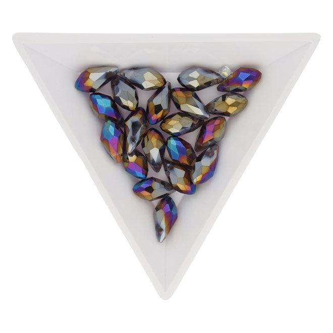 Briolettes Glasperlen mit seitlichem Loch 12x6 mm - Amethyst/Sapphire