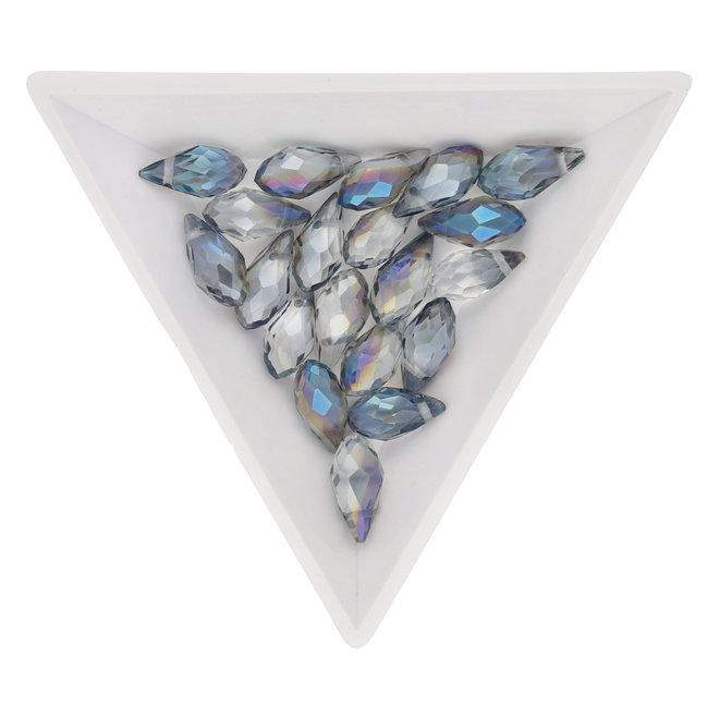 Briolette Glasperlen mit seitlichem Loch - Aqua
