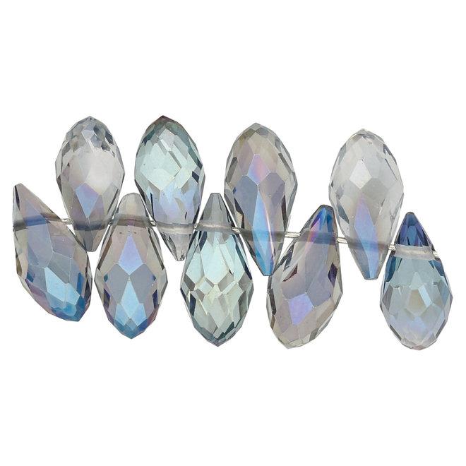 Briolettes in vetro con foro laterale 12x6 mm - Aqua