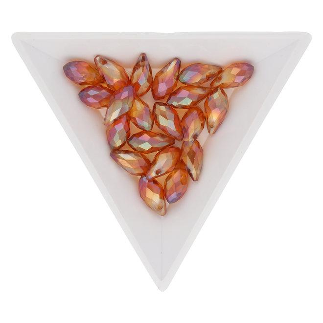 Briolette Glasperlen mit seitlichem Loch - Orange