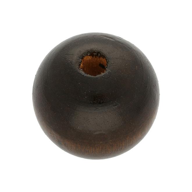 Holzperle 25 mm – dunkelbraun gefärbt (6 Stk.)