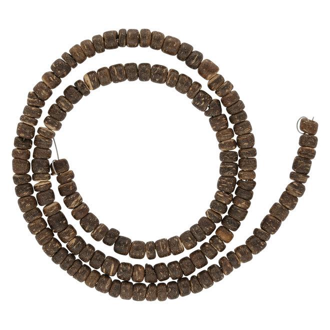 Dunkelbraune Perlen aus Kokosnussholz - 5 mm