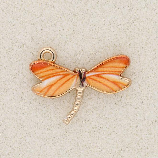 Charm-pendentif Libellule - Orange