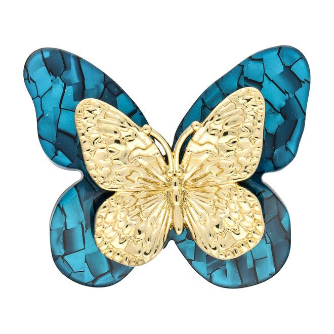 Grosser Acrylschmetterling - blau und gold: ein besonderer Anhänger