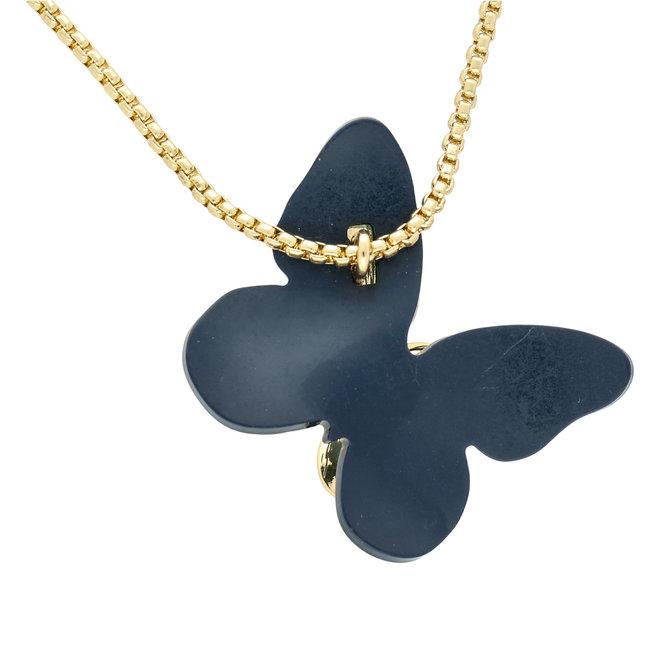 Farfalla acrilica grande – blu e oro: un pendente speciale