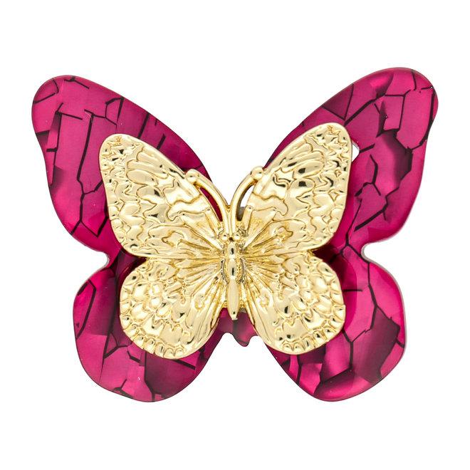 Mittlerer Acrylschmetterling - Fuchsia und Gold
