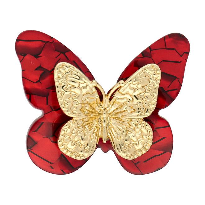 Kleiner Acrylschmetterling - rot und Gold