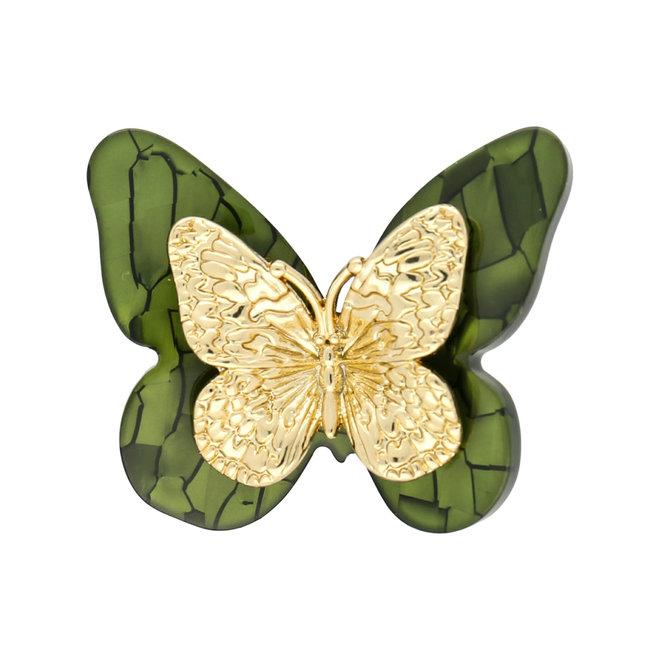 Kleiner Acrylschmetterling - grün und Gold