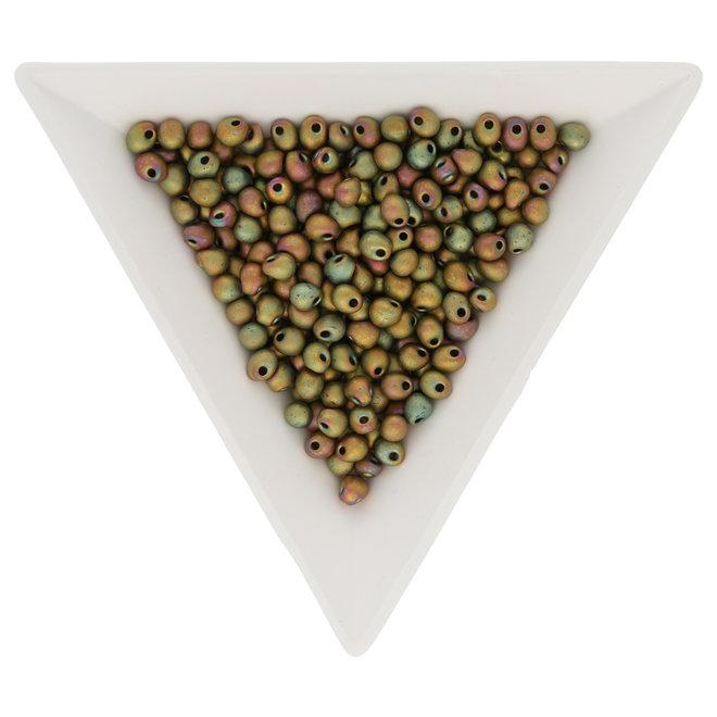 Drop Beads 3,4 mm – Matte Metallic Khaki Iris