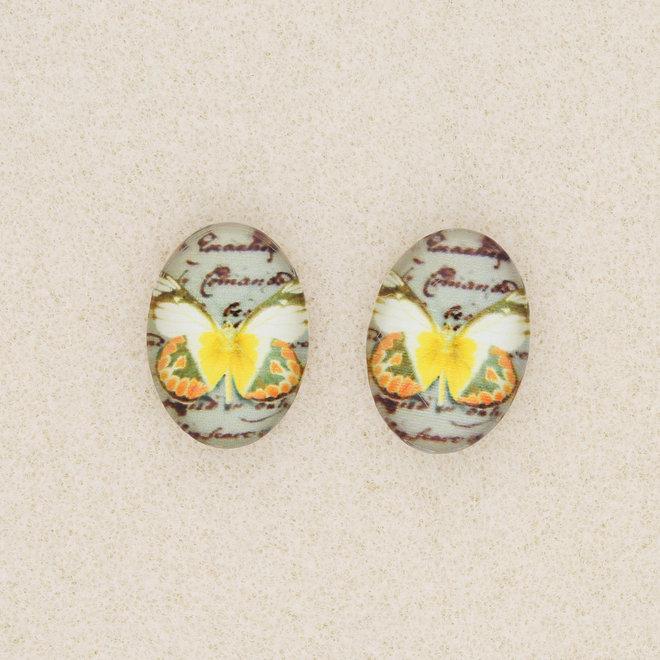 Cabochon en verre ovale, motif papillon