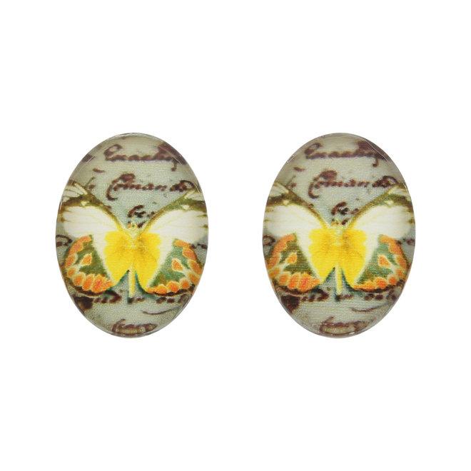 Cabochon en verre ovale, 18 x 13 mm, motif papillon