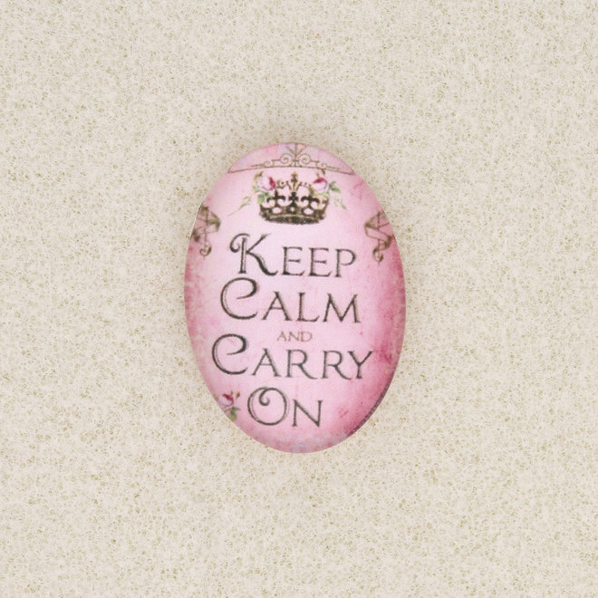 "Cabochon en verre ovale, 25 x 18 mm, motif ""Keep Calm and Carry on"""