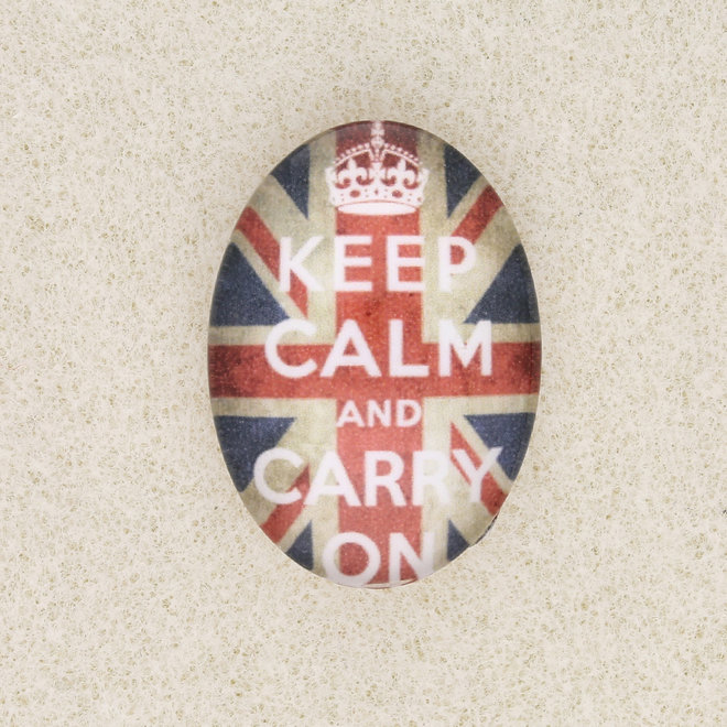 """Cabochon ovale in vetro, motivo """"Keep Calm and Carry on"""""""