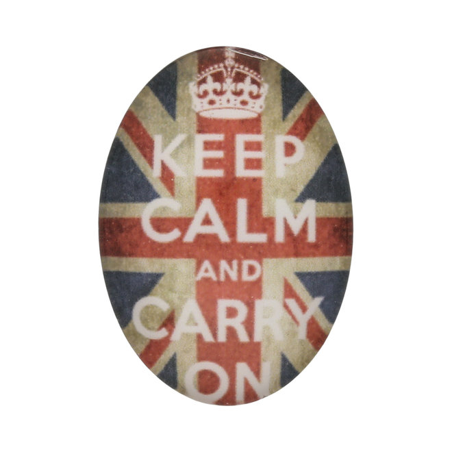 """Cabochon ovale in vetro, 25 x 18 mm, motivo """"Keep Calm and Carry on"""""""