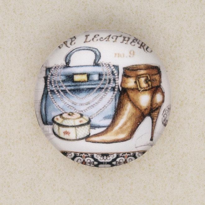 """Cabochon rotondo in vetro, 20 mm, motivo """"Borsa e stivaletto"""""""