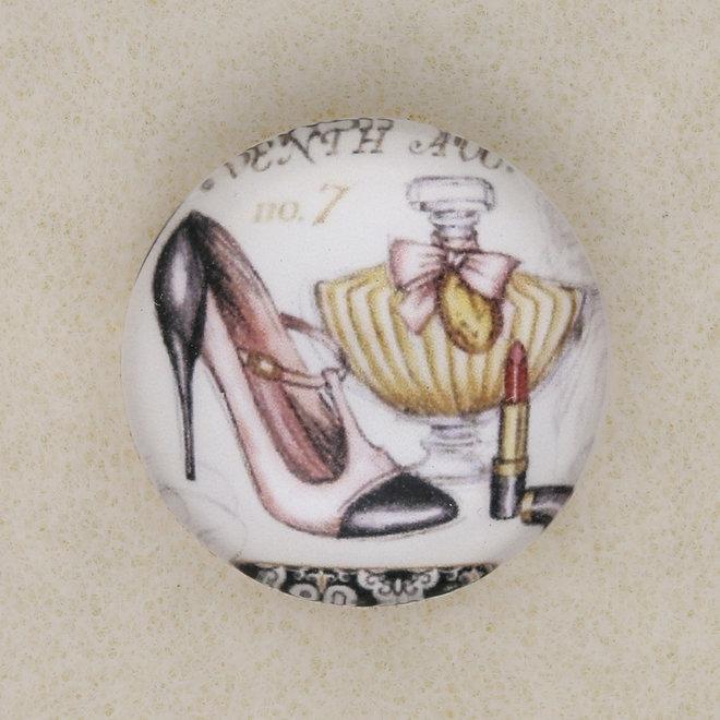 "Cabochon en verre rond, motif ""High Heels et Parfum"""