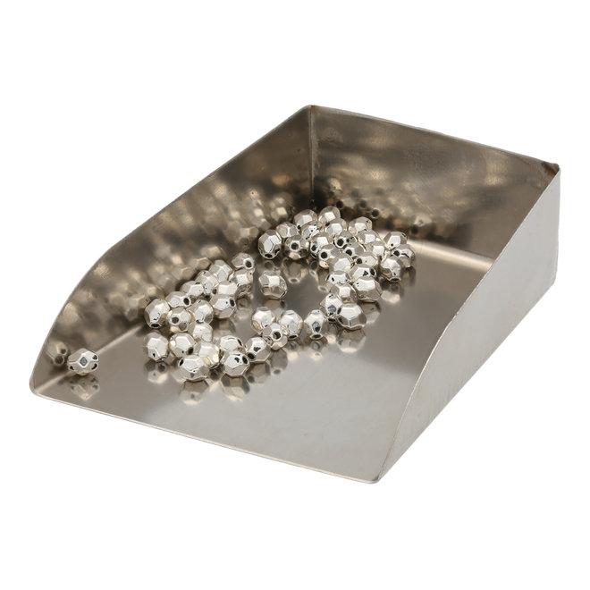 Fecettierte ovale Metallperle – Silber antik