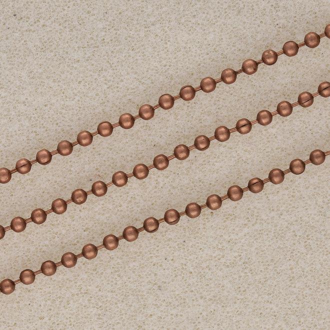 Catena a palline 2,5 mm - in lega colore rame antico