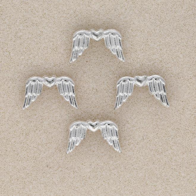 Engelsflügel mit Herz – Farbe Silber